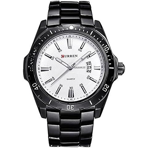 downj lancette Orologio da uomo nero quadrante bianco con calendario, orologio - Seiko Moon Watch