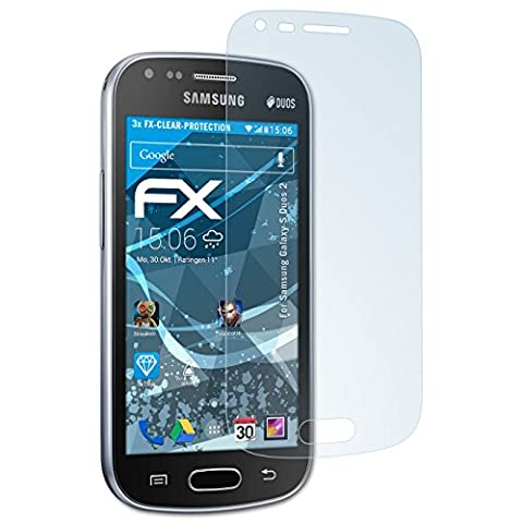 Samsung Galaxy S Duos 2 Schutzfolie - 3 x atFoliX FX-Clear kristallklare Folie Displayschutzfolie (Samsung Galaxy S Duo 2)