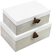 2piezas. Cajas de Juego con tapa en Shabby Look caja de madera decorativa caja caja para guardar cajón multiusos caja de madera