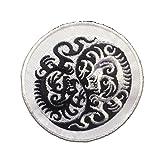Aufnäher / Bügelbild - Yin Yang Drache spirituell - schwarz/weiß - Ø7.5 cm -Patch Aufbügler Applikationen zum aufbügeln Applikation Patches Flicken