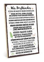TypeStoff Holzschild mit Spruch - WIR DORFKINDER - im Vintage-Look mit Zitat als Geschenk und Dekoration zum Thema Dorf und Kinder (19,5 x 28,2 cm)