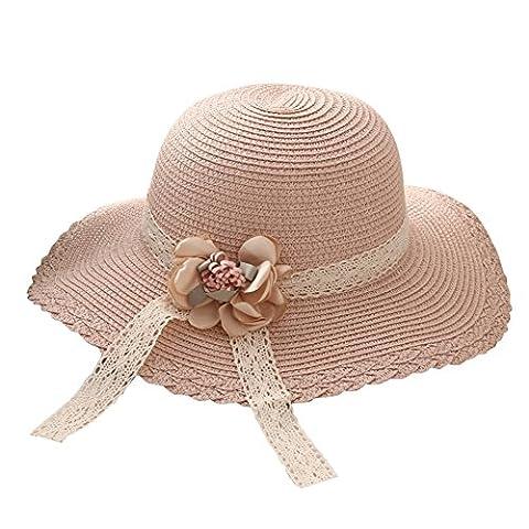 Cosanter Petite Filles Dentelle Chapeau de Paille Anti-Soleil Respirant Pliable Chapeau de Soleil pour Vacance en Plage
