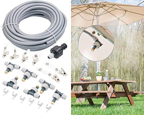 Royal Gardineer Sprühnebler: Wasser-Zerstäuber-Set, 10-Meter-Schlauch und 6 bewegliche Metalldüsen (Sprühnebel Schlauch)