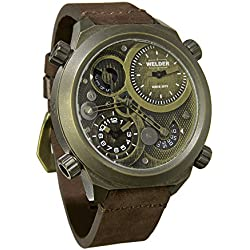 Welder K50-400 Men's Quartz Watch with Brown Dial Analogue Display and Brown Leather Strap