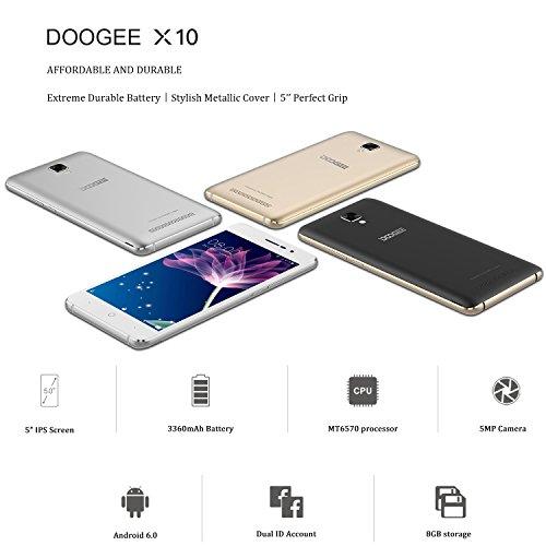 Móviles y Smartphones Libres  DOOGEE X10 Teléfono Móvil Libre y sin Bloqueo de SIM Baratos   5 Pulgadas con Pantalla HD   Procesador DualCore MT6570   8GB ROM   2.0MP + Cámara de 5.0MPX   Dual SIM 3G  Bateria con 3360mAh  Bluetooth 4.0   Plata