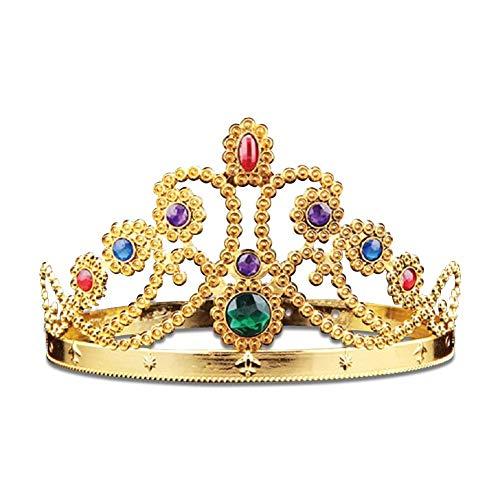 Carry stone Premium Qualität Mädchen Goldene Prinzessin Crown Haarband Farbige Zirkon Stirnbänder Haarband Haarschmuck für Halloween Weihnachten Geburtstag Party Dress Up Requisiten Accessories