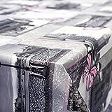 ANRO Wachstuch Wachstischdecke Tischdecke abwaschbar London Paris Grau/Pink 160 x 140cm