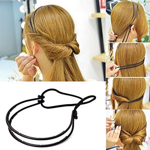 SHI-YUAN-M-TD, Mode Haarschmuck Magie Haar Locken Brötchen Für Frauen Doppel Haarbänder Haarband Geflecht Schwarz Kunststoff Stirnband Haarknoten Maker -