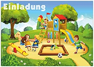 """12 Einladungskarten zum Kindergeburtstag """"Spielplatz"""