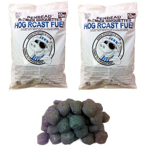 PENBEAD Premier Charcoal BBQ Briquettes : VALUE PACK OF TWO 10kg bags (20kg total)