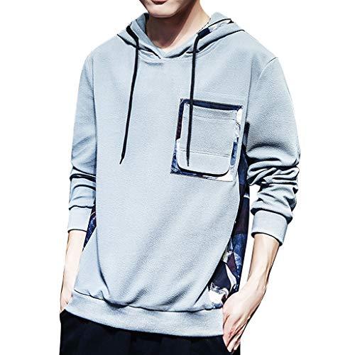 Eaylis T-Shirt Sweatshirt Herren Einfacher Einfarbig Bedruckter Kapuzenpullover Mit Langen ÄRmeln