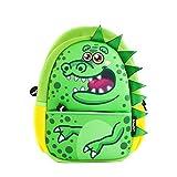 fringoo® Kleinkinder Rucksack, süß, Isoliert, Kindergartenrucksack, Tagesrucksack, Reiserucksack mit Reißverschlusstasche Grün Green Dino - Backpack 30 x 22 x 9 cm