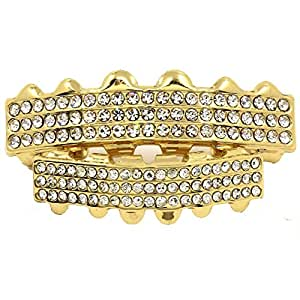 Bling King Men's Gold Plated 3 Row Clear Stones Hip Hop Bling Grillz Top & Bottom Teeth Set
