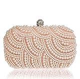 Heyjewels Elegant Handgemacht Pink Perlen Beaded Clutch Handtasche Brauttasche Unterarmtasche Party Abendtasche