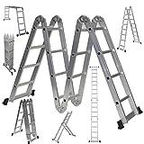 Multifunktions-Allzweckleiter mit Werkzeugablage, 4,75 m, Aluminium, 14 in 1, hergestellt nach EN131 Teil 1 und 2 Spezifikationen
