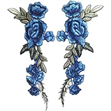 2PC DIY Bordado Rose Apliques Parches para Vestidos/Camiseta (Azul)