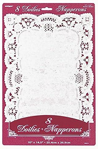Blanc Set de table papier napperons, Lot de 8