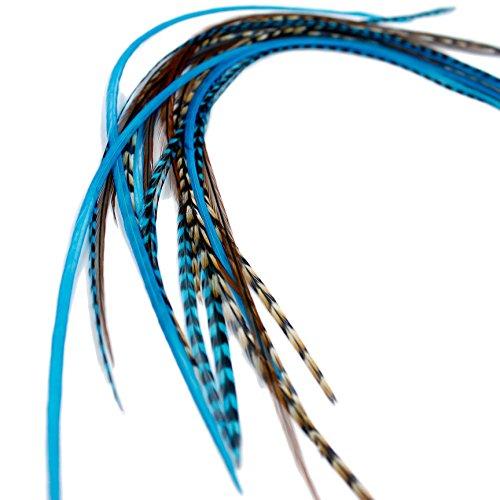 Extensions de cheveux en plumes véritables – Auburn Aqua