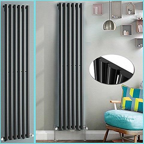 Anaelle Pandamoto Radiateur Vertical Design Vitality Blanc en Acier haut de gamme 1600*356 Single Chauffage Central Chaude, Noir