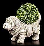 Jardín Figura perro como macetero–Figura decorativa para jardín (piedra