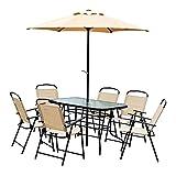 Outsunny Conjunto Muebles Mesa+6 Sillas Plegable+Sombrilla 8 Pcs Textilene Resistente Parasol Impermeable Acero