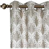 Urban Hues Eyelet Polyester Jacquard Fabric 1 Piece Window, Door Curtains (7 Ft, Grey)