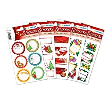 HERMA 48 Christmas Gift Stickers with Glitter Effect for Card Making, Crafts, Envelopes and Xmas Decorations, Self Adhesive Labels for Kids and Children