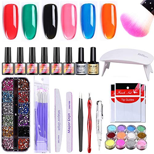 Dyyicun12 Fashion Mayor Dijit Polygel Builder Gel Nagellampe Pinsel Strass Pen Feile Pinzette Set (Nagellack Weißen Pinsel Dünnen)