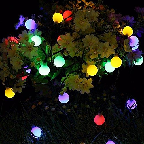 (Solar Globe Garten Lichterkette,TechCode Wasserdichte Solarkugel 50 LED Ball String Lichter Solar Power Patio Lichter Weihnachten Licht Beleuchtung für Hausgarten Rasen Party Dekorationen Outdoor, Fest Deko usw. (Farbiges Licht))