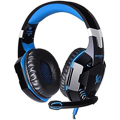 Spesso each G2000Gaming Headset PC LED Light Game cuffie stereo universale con connettore USB e microfono per PC Laptop Skype Gamer schwarz+blau