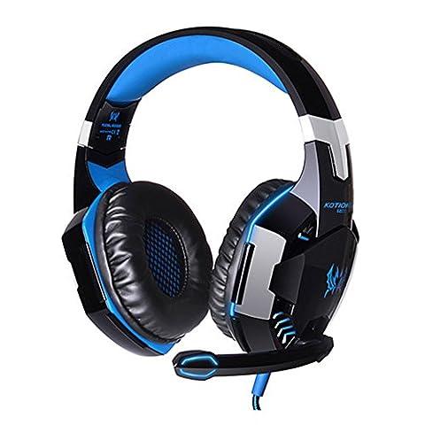 Souvent universel Each G2000Casque stéréo PC LED Light Game Casque Gaming avec adaptateur USB et Microphone pour PC ordinateur portable Skype Gamer schwarz+blau