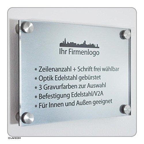 Büroschild mit Lasergravur Firmenschild Namensschild Türschild Modell: Berlin