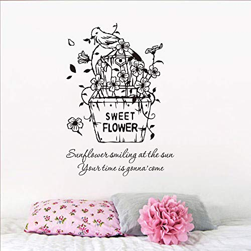 WWYJN Sweet Flower Wall Applique Flower Basket Wall Sticker Flower Pot Bird Wall Painting Home Bedroom Decoration Flower Vinyl Art Blue 42x60cm