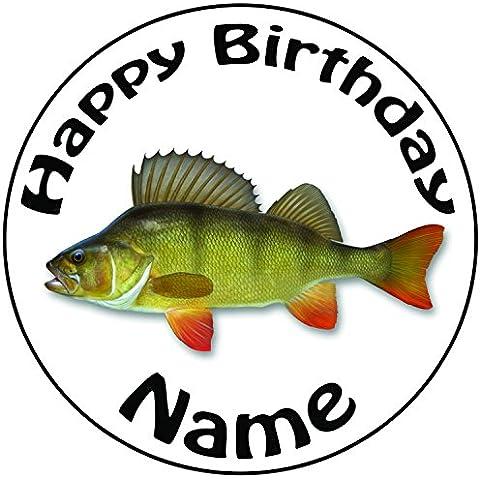 Personalizzato pesca pesce persico–Topper per torta a pre-cut rotondo 8
