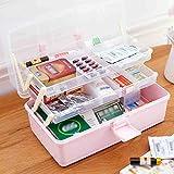 BJL Aufbewahrungsbox S-N-H Medizin-Box Haushalt Mehrstöckige Große Portable Health Care Box Medizin Lagerung Erste-Hilfe-Box Drei Kunststoff-Box (Farbe : Pink)