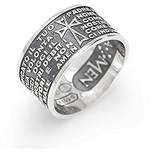 anello unisex gioielli Amen Padre Nostro Italiano misura 14 offerta casual cod. PNB925-14