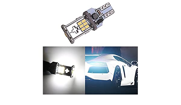 TABEN 921 912 T15 W16W White 1200 lumens 12V-24V Extremely Bright Non-Polarity Canbus Error Free 3020 18pcs Chipsets LED Bulbs for Backup Reverse Lights Xenon White 6000K Pack of 2