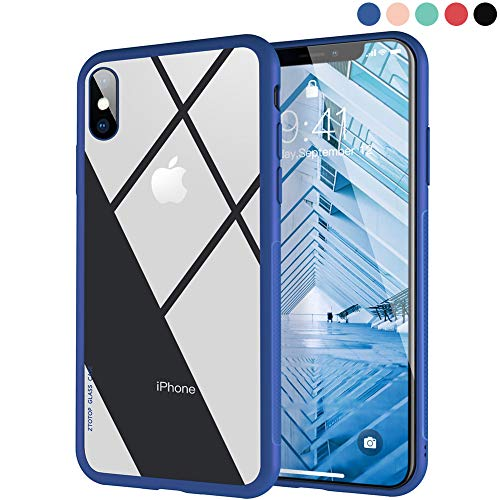 Custodia per iphone x, ztotop case con cover posteriore in vetro temperato trasparent clear 9h antigraffio, anti-shock e cornice profilo resistente agli urti spessa soli 0.3mm in silicone morbido; supporta la ricarica wireless per apple iphone x / iphone 10 (2017) - cornice blu