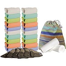 Close Parent POPV2-20-PT-BB - Pack de 20 pañales de tela de bambú + 6 absorbentes de noche + 160 forros + 1 bolsa impermeable