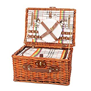 Miyagi Tea Europe 2 Person Traditional, British Style, Wicker Picnic Hamper - Includes Cooler bag - Dinnerware for 2 - Ceramic Plates, Glasses, Cutlery, and Bottle Opener