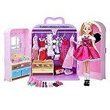 Giocattoli educativi Armadio Giocattolo Armadio Princess Mobili con Abiti Scarpe Borse Cosmetici Moda e Accessori Abiti da Ballo per Feste Abiti per Bambole Barbie Giochi per Bambini
