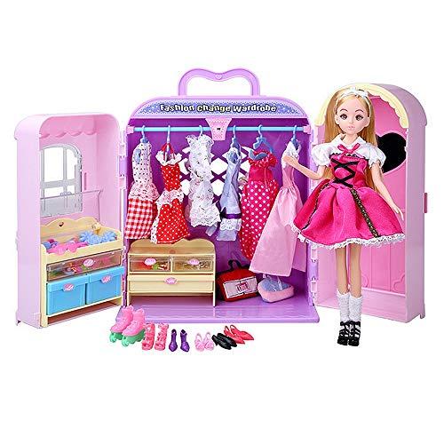 Yhjklm DIY Puppenhaus Kit Dekoration Spielzeug Schrank Kleiderschrank Prinzessin Möbel mit Kleidung Schuhe Taschen Kosmetik Mode und Zubehör Party Ballkleid Outfits für Barbie Puppen sicher