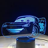 3D Lampe Illusion Optique,3D Led Veilleuse,7 Couleurs Tactile Lampe De Chevet Chambre Table Art Déco Enfant Lumière De Nuit Enfants D'Anniversaire Cadeau,Lampe De Table, Voiture De Bande Dessinée
