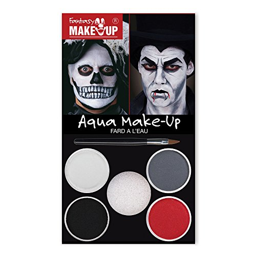 Bristol Novelty mu034 Dracula Totenkopf Aqua Make Up Kit, Unisex, ONE SIZE (Skelett Gesicht-malerei Halloween)