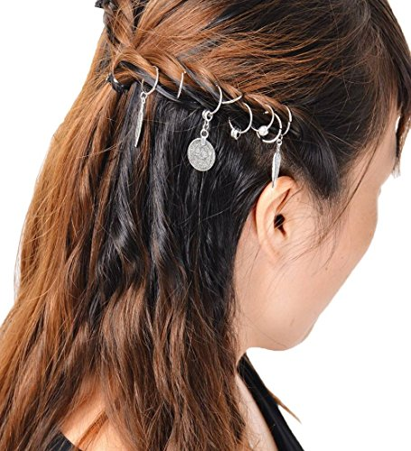 Bigood 8Pcs Décoration Coiffure Accessoire Anneaux Tresse Clips Cheveux