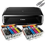 Canon Pixma iP7250 Stampante a getto di inchiostro con WLAN, Auto Duplex Stampa (9600x2400 dpi, USB) + USB Cavo & 10 Youprint Cartucce di inchiostro (Cartucce originali express non nell'ambito della consegna)