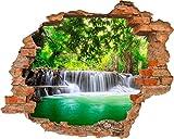 Fototapete 3D Bild Tapete Loch in der Mauer Wasserfall im Wald Grünes Wasser Natur Wilderness