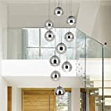 moderne Treppe Kronleuchter 10 Glaskugeln kreative Persönlichkeit Wohnzimmer Leuchte minimalistischen langen Pendelleuchte, 40 * 200 cm (Farbe : Silber)