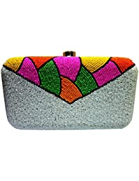 The Indian Handicraft Store Presents Colorful Beads On White Beads Women's Designer Handmade Box Clutch ….