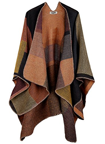 DJT Damen Poncho Herbst Winter Kariert Capes Langarm Strickjacke